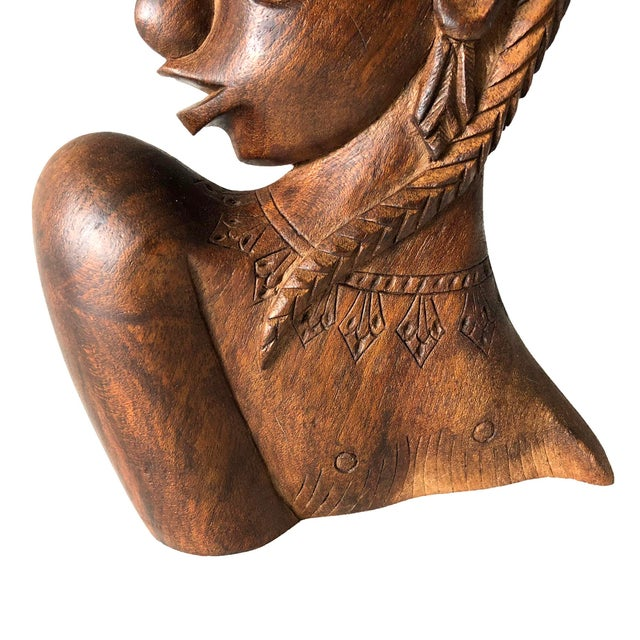 Carved Wooden African Female Bust For Sale - Image 4 of 5