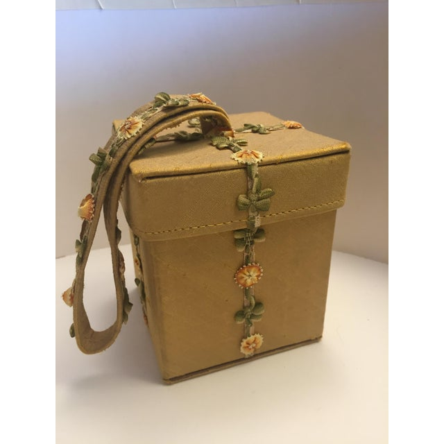 Lulu Guinness Gold Silk Box Bag With Ribbon Flower Trim For Sale - Image 11 of 11