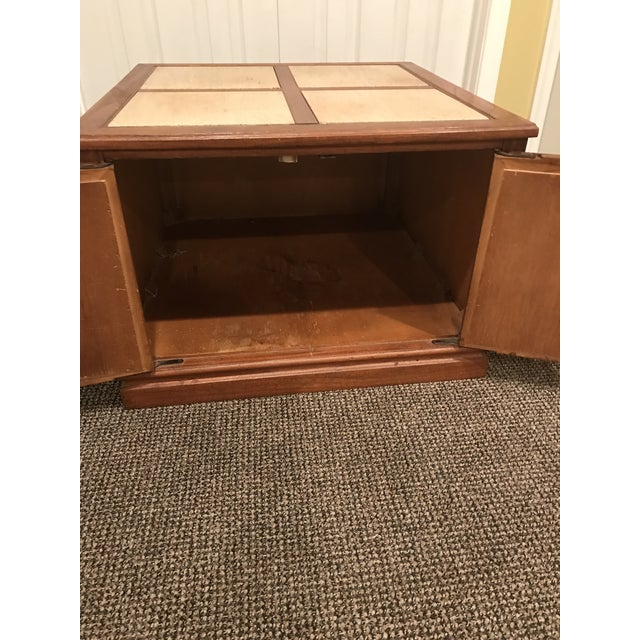 Mid-Century Modern Travertine Inlay Storage Table For Sale - Image 4 of 10
