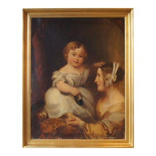 Painted Portrait of Mother and Child For Sale