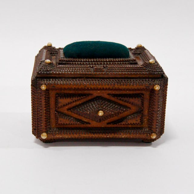 Antique French Tramp Art Sewing Box with Raised Velvet Green Pin Cushion For Sale - Image 5 of 10