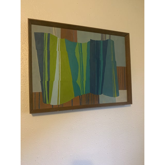 Mid-Century Modern Mid-Century Modern Abstract Line Acrylic Painting, Framed For Sale - Image 3 of 8