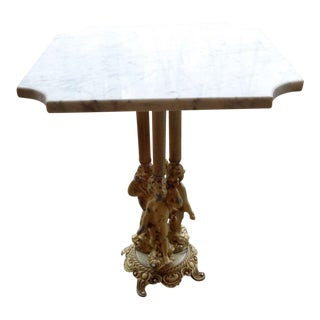 Antique Marble Top Table With Ornate Pewter Angelic Legs