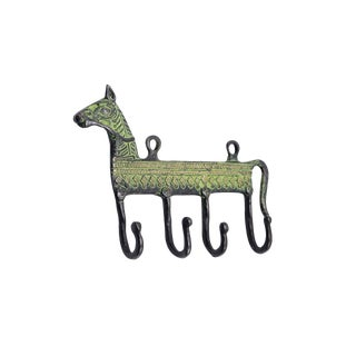 Bohemian Green Brass Horse Wall Hooks For Sale