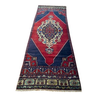 1970s Vintage Turkish Hand Knotted Oushak Runner For Sale