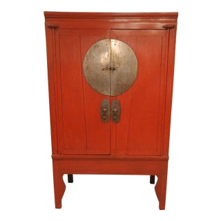 1940s Asian Antique Red Wooden Wedding Cabinet For Sale