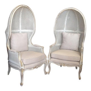 Pair of Caned Porter's Style Chairs For Sale