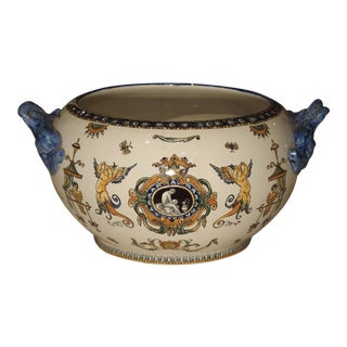 Antique Gien Cachepot with Dolphin Handles from France, Circa 1900