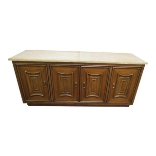 Traditional Thomasville Walnut 4 Door Credenza/Buffet With Travertine Top For Sale