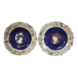 19th Century French Hand Painted Barbotine Chargers - a Pair For Sale