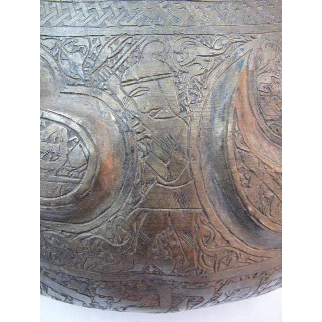 Late 19th Century 19th Century Arabic & Hebrew Calligraphy & Egyptian Figures Hebraic Revival Brass Pot For Sale - Image 5 of 10