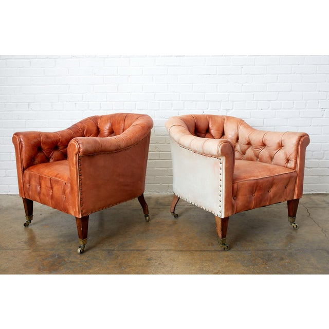 Pair of English Tufted Leather Chesterfield Club Chairs For Sale - Image 4 of 13