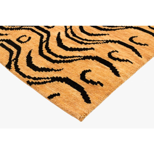 Asian Black and Tan Wool Tibetan Tiger Area Rug For Sale - Image 3 of 7