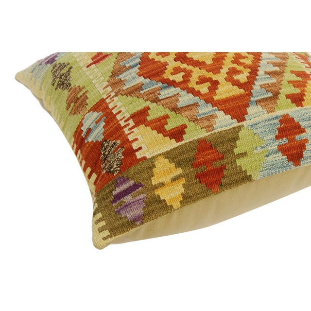 "Clarissa Rust/Lt. Blue Hand-Woven Kilim Throw Pillow(18""x18"") For Sale - Image 4 of 6"