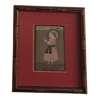 Indian Art in Bamboo Frame For Sale