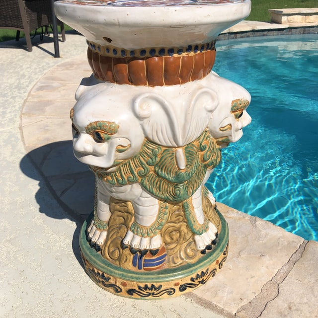 1960s Gothic Ceramic 3 Sided Foo Dog Garden Stool For Sale - Image 12 of 13