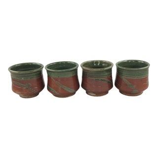 Handthrown Glazed Earthenware Mugs - Set of 4 For Sale
