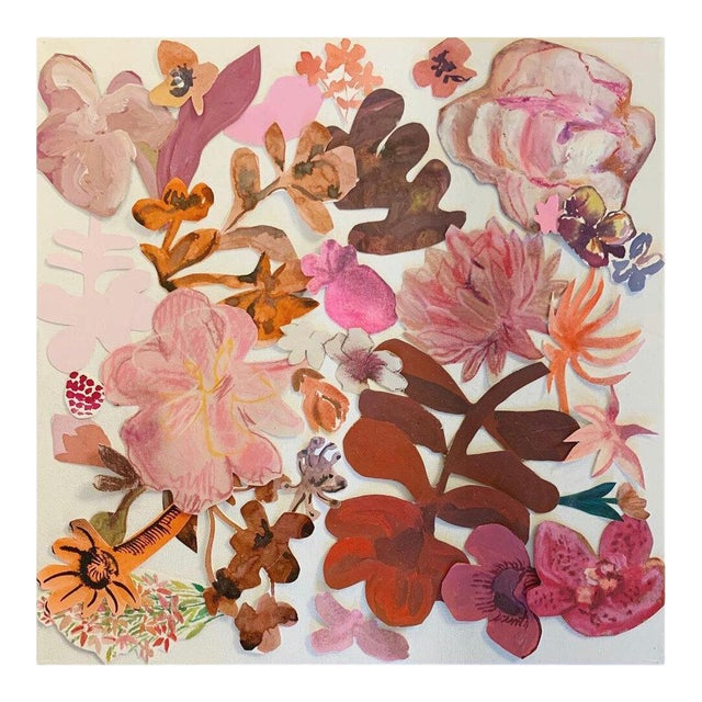"""""""Floral Collage 7"""" Contemporary Botanical Mixed-Media Collage Painting by Hayley Mitchell For Sale"""