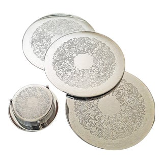Vintage 1970s Silver Plated Filigree Set of 6 Coasters in Caddy & Trivets - 10 Piece Set For Sale