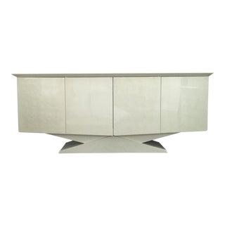 Modern Ello Art Deco White Pearlescent Console Cabinet Credenza