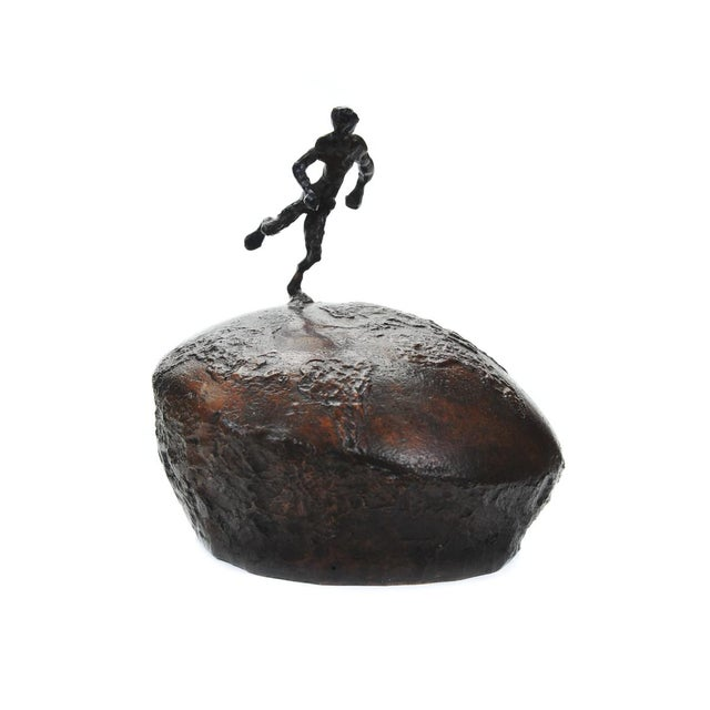 Brutalist Athlete Running Across the World Bronze Sculpture For Sale - Image 3 of 9