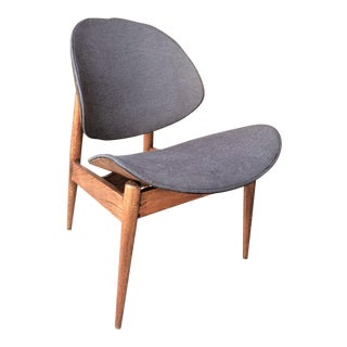 Mid-Century Kodawood & Gray Upholstered Shell Chair