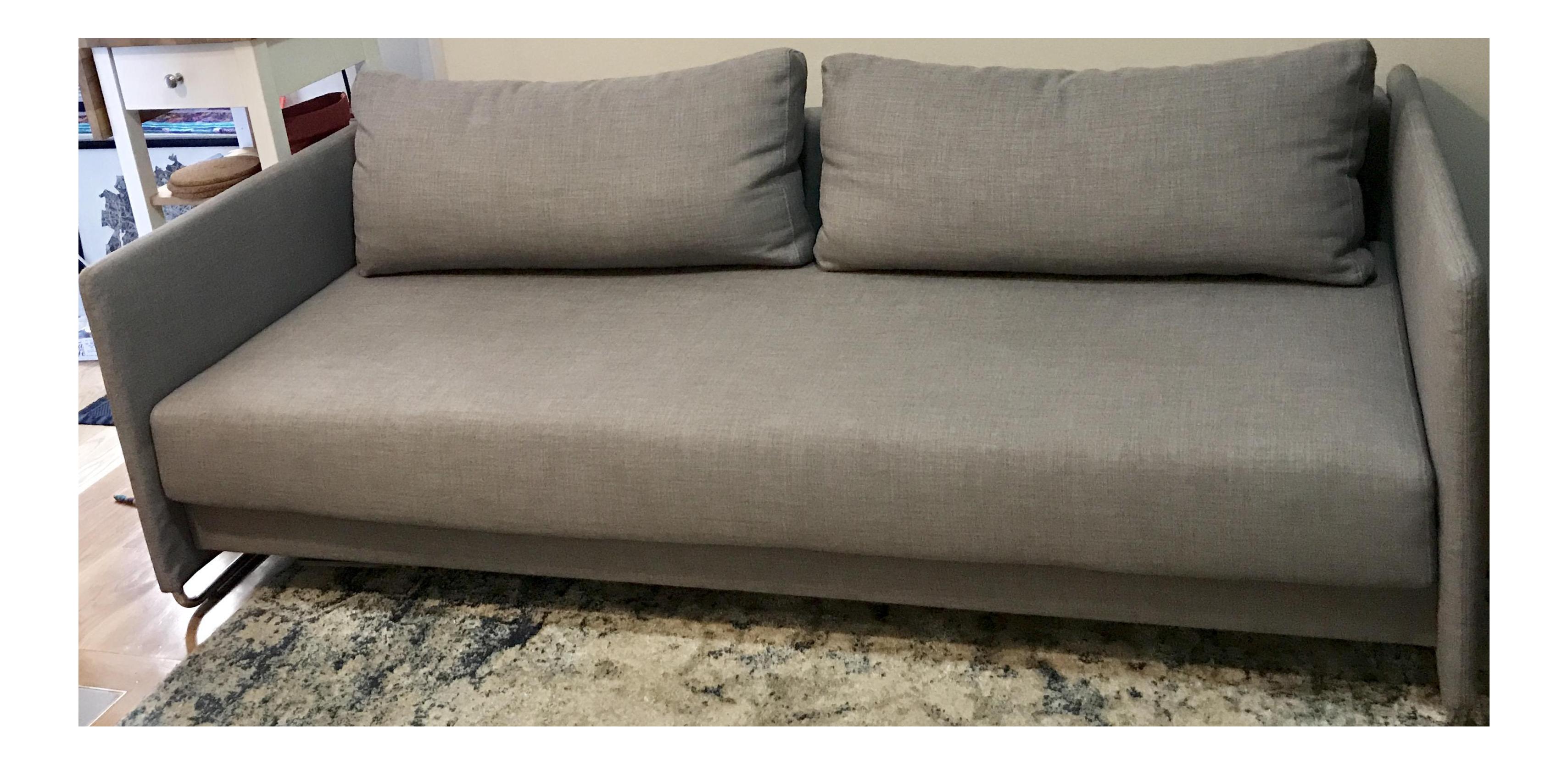 Merveilleux CB2 Tandom Microgrid Grey Sleeper Sofa