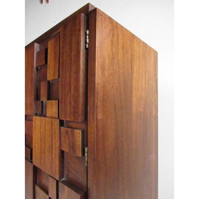 Brown Vintage Modern Brutalist Bedroom Set by Lane Furniture For Sale - Image 8 of 11
