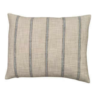 Aqua Striped Linen Pillow For Sale