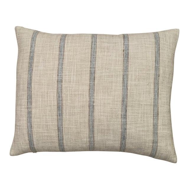 Aqua Striped Linen Pillow For Sale