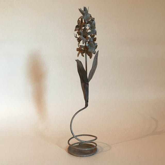 Vintage gray tole hyacinth flower sculpture with spiral base. Made in the mid 20th century.