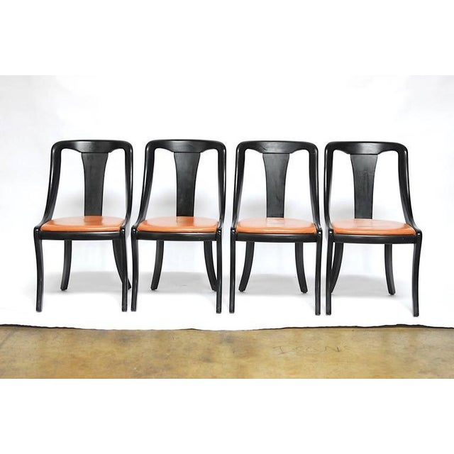 Set of Four Mid-Century Black Lacquer Dining Chairs - Image 2 of 10