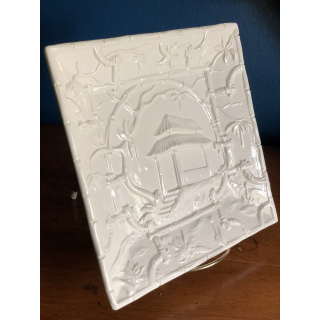 White Asian Modern Mottahedeh Design Pagoda Dish For Sale - Image 8 of 13