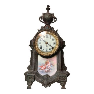 Early 20th Century French Bronze and Porcelain Mantle Clock For Sale