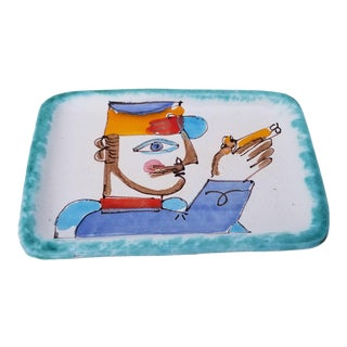 Vintage Italian Hand Painted Desimone Decorative Dish For Sale