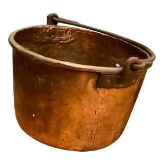 19th Century Rustic Copper Apple Butter Kettle With Iron Handle