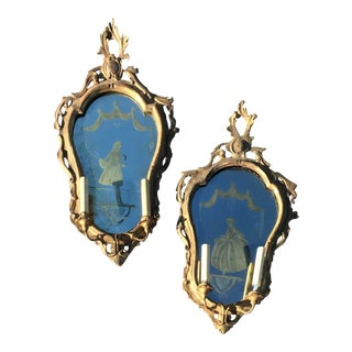 Pair of Venetian Gilt Mirrored Sconces or Girondole For Sale