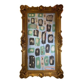 Contemporary Abstract Painting in Faux Louis XV Frame For Sale
