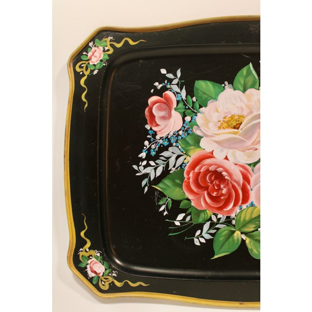 Vintage French Black Tole Tray With Floral Design For Sale - Image 4 of 9