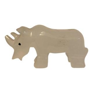 Vintage White Stone Rhino Figurine