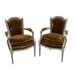 Vintage Mid Century French Louis XVI Style Mohair Armchairs- A pair For Sale