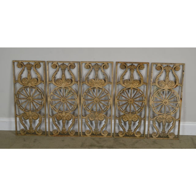 High Quality Vintage Set of 9 Heavy Cast Iron Painted Panels Recovered From a Masonic Temple Railing
