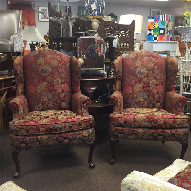Red Floral Wing Back Chairs - A Pair - Image 7 of 7