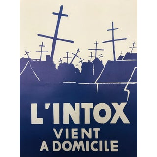 1968 Original French Riot Poster - l'Intox Vient a Domicile For Sale