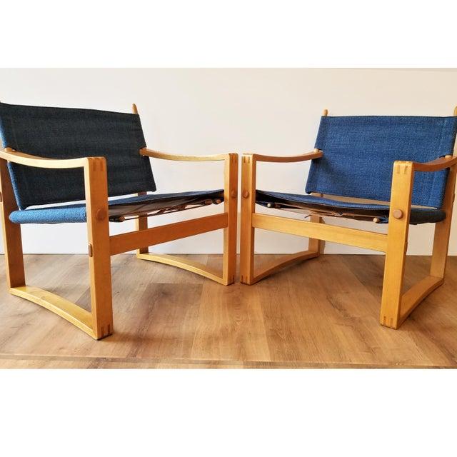 Bernstorffsminde Møbelfabrik Newly-Upholstered Borge Jensen Danish Safari Sling Chairs - a Pair For Sale - Image 4 of 10
