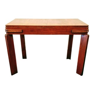 Streamline Art Deco Padauk Wood Writing Desk / Pier Table For Sale