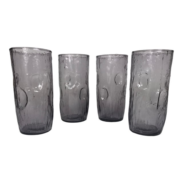 Vintage Amethyst Purple Crinkle Highball Glasses - Set of 4 For Sale
