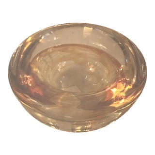Hand-Blown Art Glass Votive/Cachepot, Swirled Amber Glass For Sale