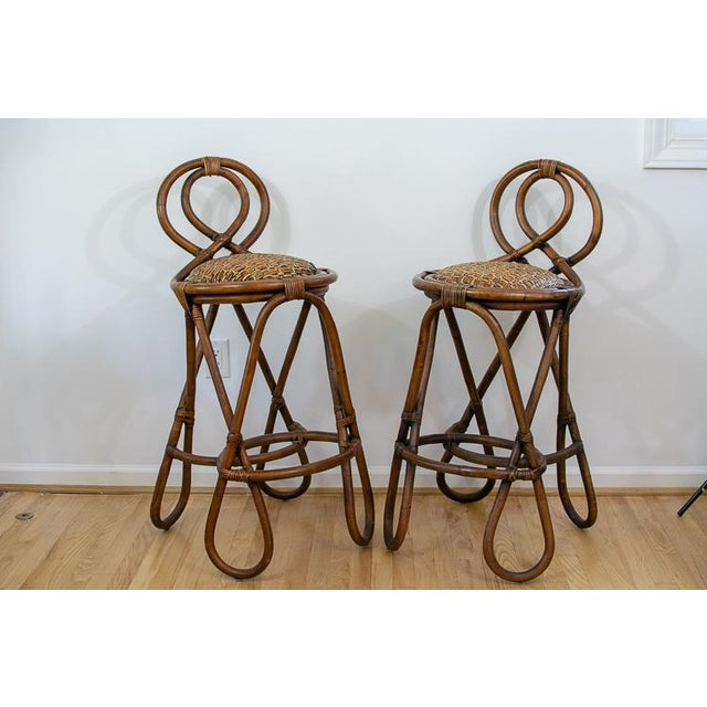 Vintage Mid-Century Twisted Wood Rattan Stools - A Pair For Sale - Image 10 of 10