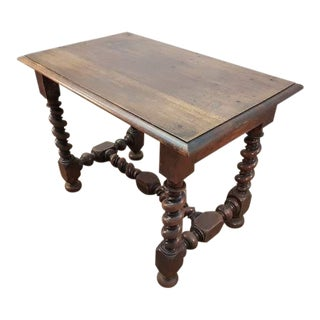 Solid Sturdy Antique French Oak Barley Twist H-Stretcher Table Desk For Sale